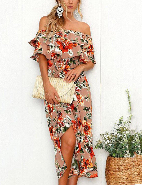 A Line Vintage Off the Shoulder Ruffle Split Chiffon Midi Dress - Fancyqube