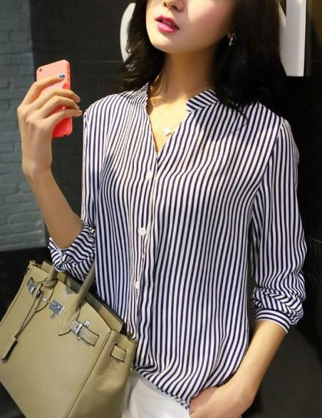 Casual V-Neck Long Sleeve Blue Striped Blouse