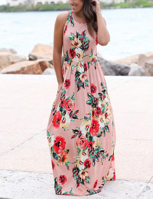 Women Floral Print Sleeveless Boho Dress Evening Gown Party Long Maxi Dress Summer Sundress Casual Dresses - Fancyqube