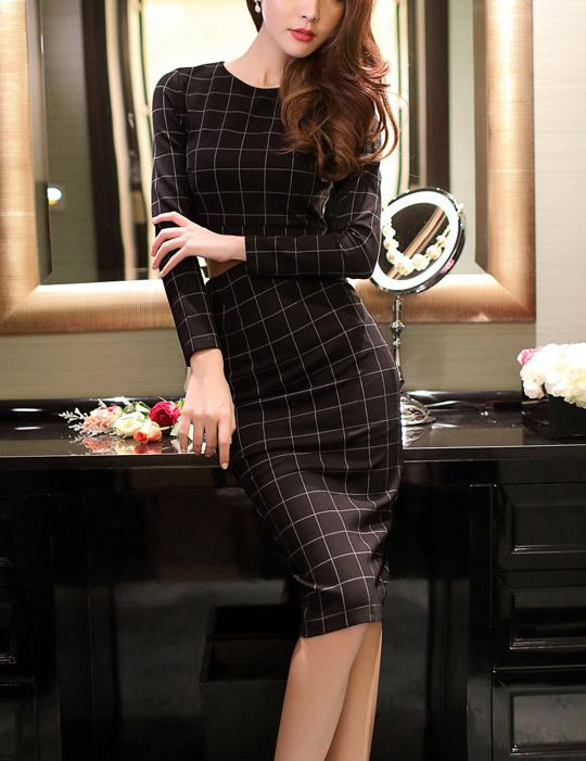 Two Piece Slim Fit Grid Long Sleeve Bodycon Mini Dress