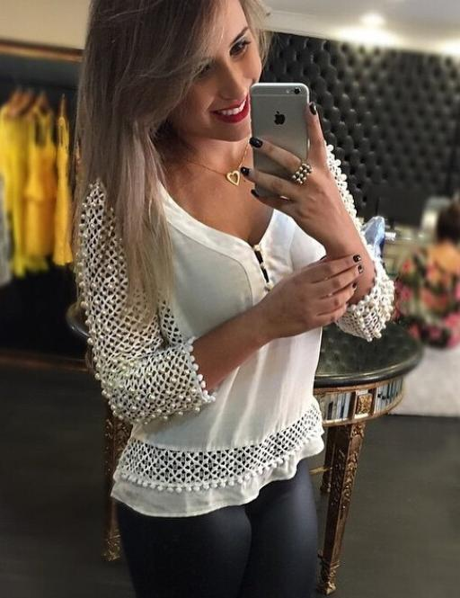 White V-Neck 3/4 Sleeves Stitching Lace Blouse
