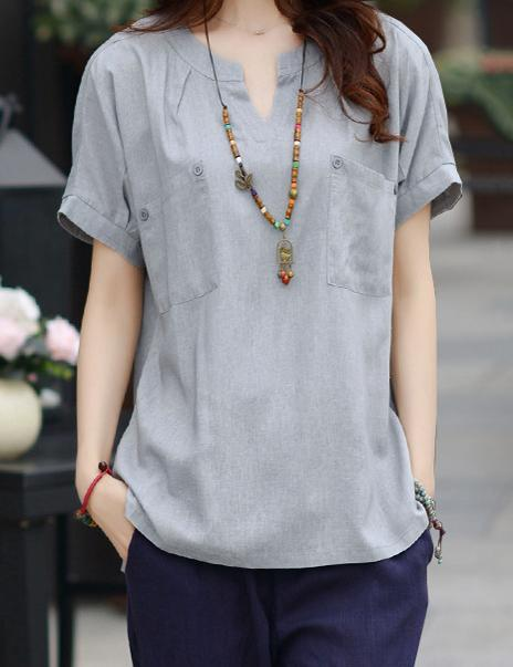 Solid Casual Linen Round Neckline Short Sleeve Blouses