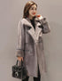 Long Thicken Double Breasted Lapel Lamb Wool Coat