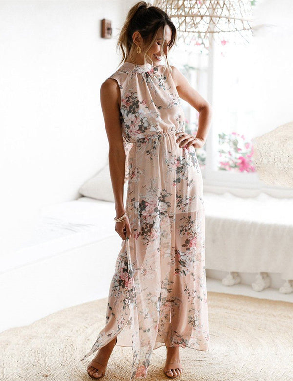 Printed Sleeveless Slit Leg Chiffon Maxi Dress - Fancyqube