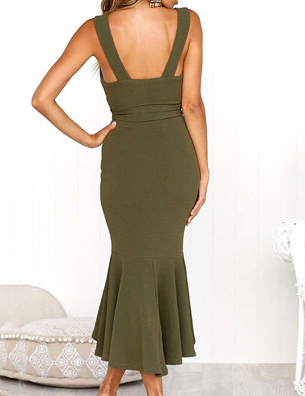 Sexy Deep V Neck Sleeveless Fishtail Midi Dress - Fancyqube