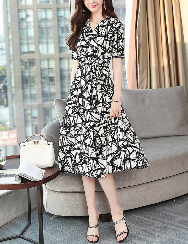 Elegant V-Neck Short Sleeve Slim Waist Chiffon Midi Dress