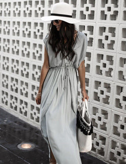 A-Line V-Neck Short Sleeve Grey Beach Maxi Dress