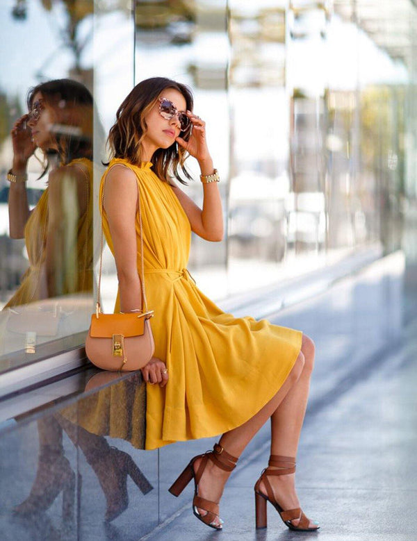 Sleeveless Yellow Pleated Mini Dress With Belt