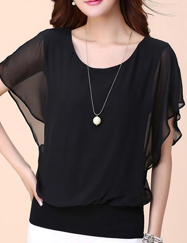 Chiffon Blouse - Short Sleeve Batwing Cut - Fancyqube