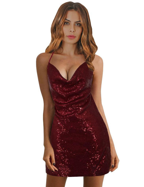Sheath Sexy V-neck Colored Sequins Backless Slit Homecoming Dress