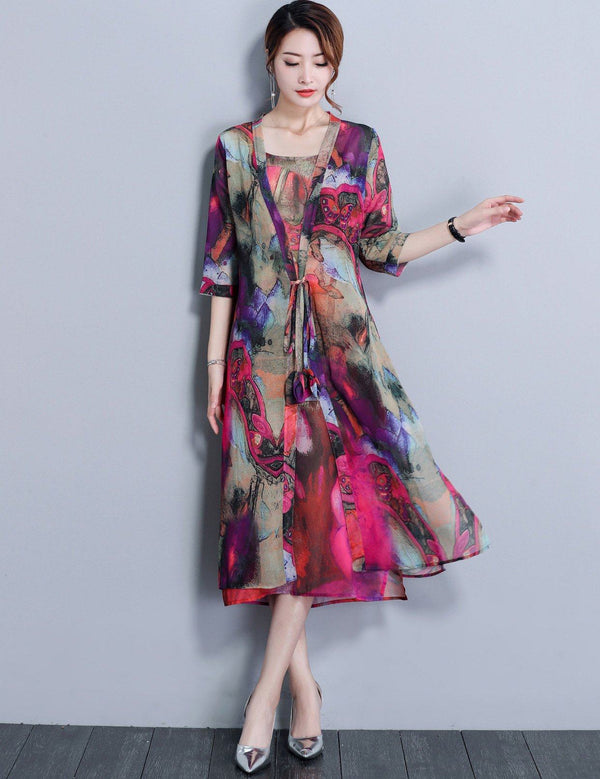 Two-piece Long Sleeve Slip Slim Printed Chiffon  Midi Dress