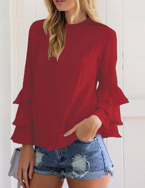 Crew Neck Solid Tiered Long Sleeve Blouse - Fancyqube