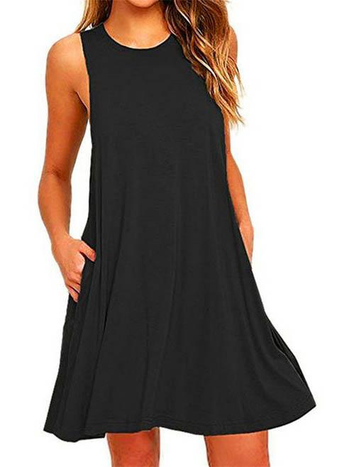 Round Neck A-line Casual Loose Solid Color Mini Dress with Pockets - Fancyqube
