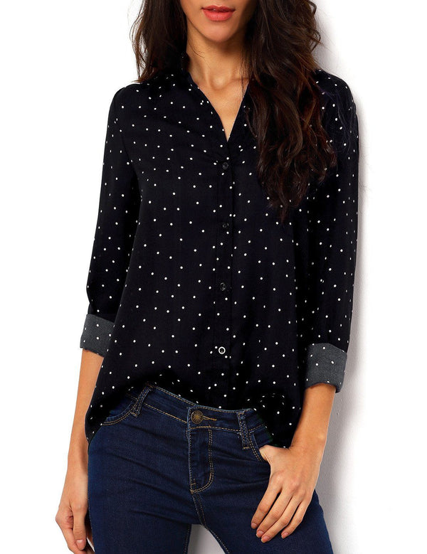 Perspective Chiffon Small Dot Long Sleeve Blouse