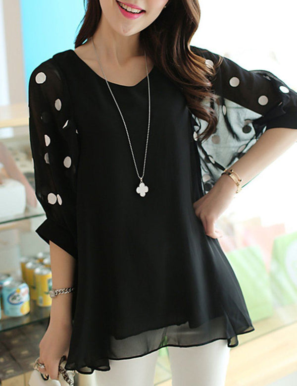 Chiffon Women V-Neck Hollow Out Polka Dot Half Sleeve Blouse