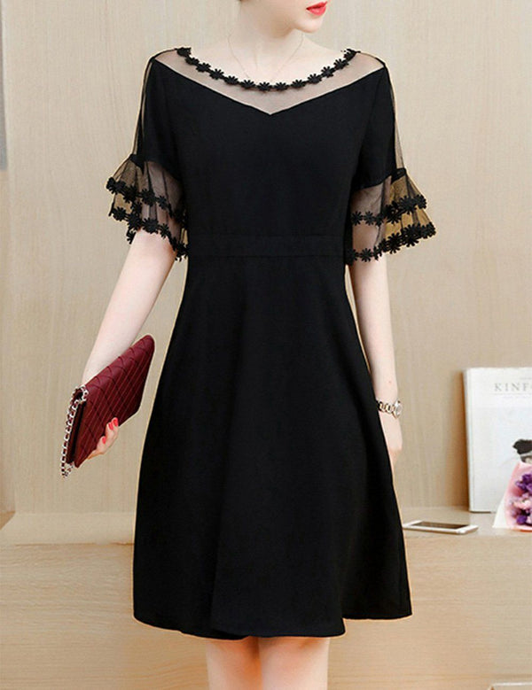 Plus Size See-Through Solid Color Bell Sleeve Black Skater Midi Dress