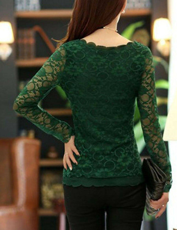 Autumn Spring Lace Women See-Through Plain Blouse