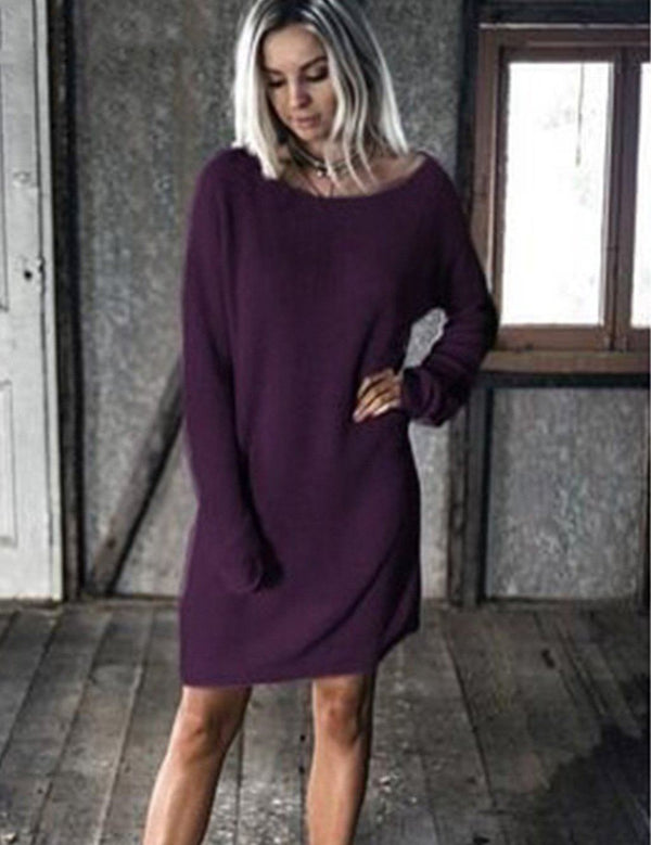 Crew Neck Bat Sleeve Loose Casual Women's Sweater Dress