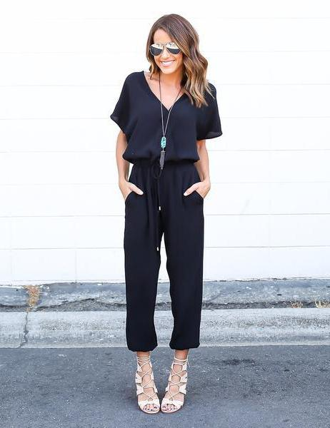 all black fitted jumpsuit
