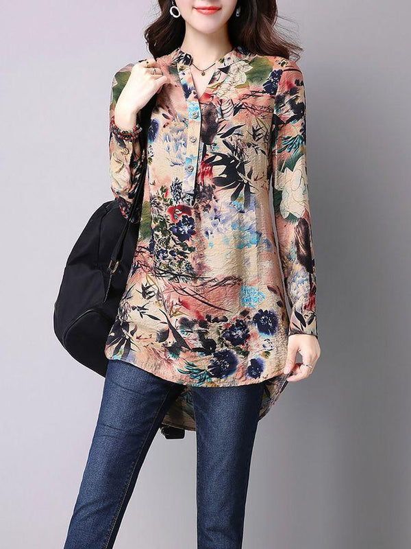 Slit Casual Stand Collar H-line Printed Blouse - Fancyqube