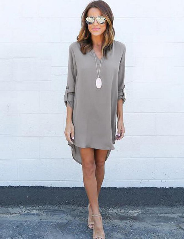 Autumn New Long-Sleeved V-Neck Simple Chiffon Mini Dress