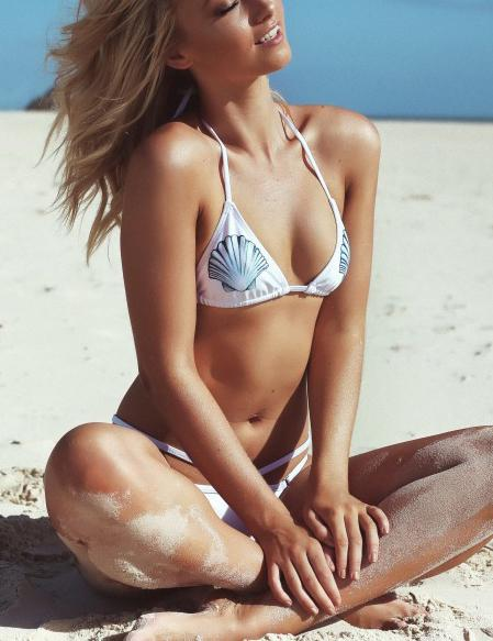 White Shell Print Bikini Set - Fancyqube