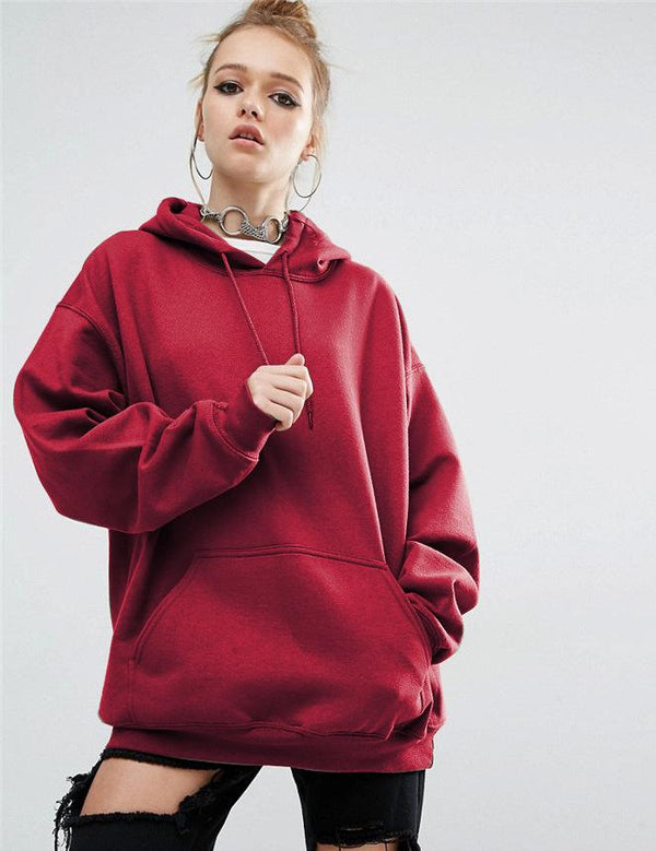 Loose Casual Bat Sleeve Solid Hooded Sweatshirt