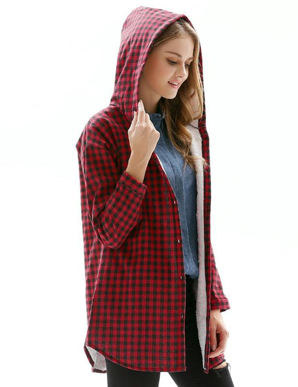 Autumn Plus Size Red Plaid Long Sleeve Hooded Blouse