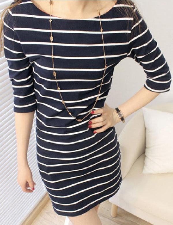 Plus Size Boat Neck Half Sleeve Stripe Mini Dress