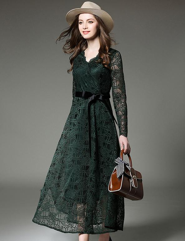 New A-Line Long-Sleeved V-Neck Slim Lace with Belt Midi Dress