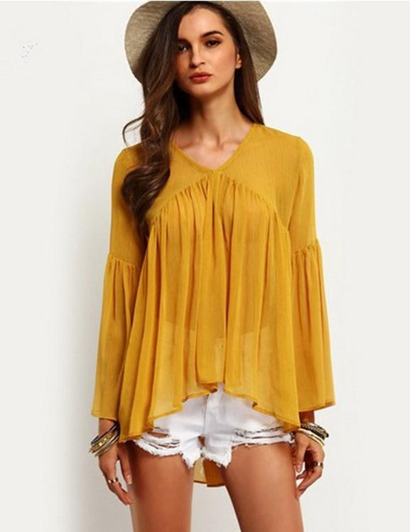 Fashion V-Neck Pleated Trumpet Sleeve Loose Chiffon Blouse