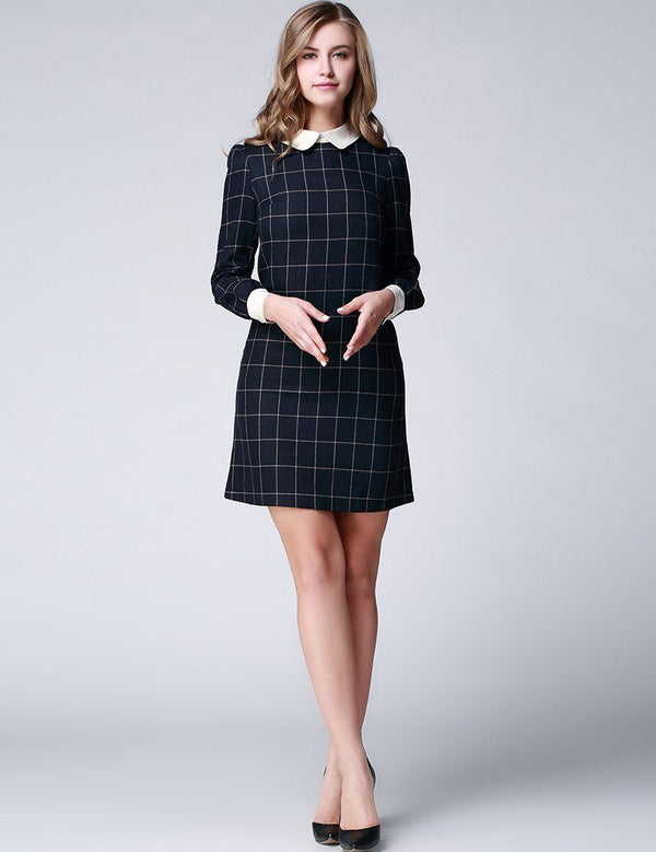 Plus Size A-Line Doll Collar Long Sleeve Loose Cotton Plain Mini Dress