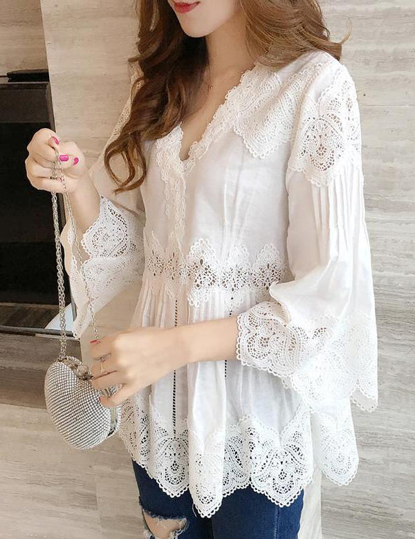 V-Neck Hollow Stitching Irregular Lace Hem White Blouse