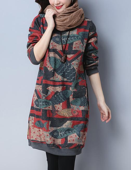 Autumn Cotton Floral Long Sleeve Knee-Length Shift Sweatshirt Dress