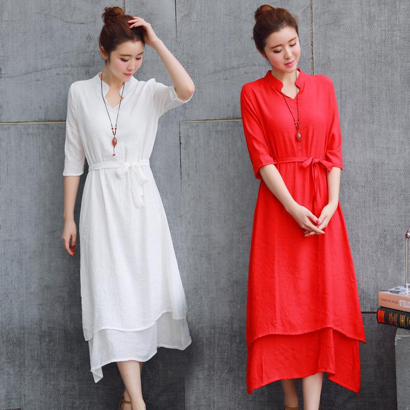 New Chinese Style Classical Improvement Hanfu Fairy Cotton and Linen Maxi Dress