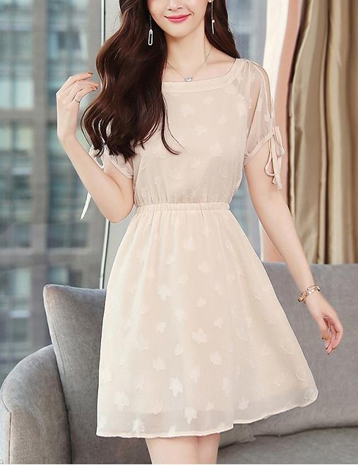 New A-line Boat Neck Slim Waist Polka Dot Floral Chiffon Midi Dress