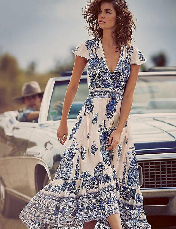 Vintage Sexy V-neck Cap Sleeve Print Maxi Dress