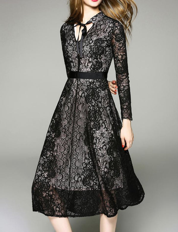 A-Line Tied V-neck Long Sleeve Black Lace Midi Dress
