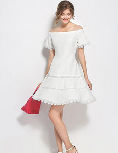 A-line White Off Shoulder Hollow Lace Slim Homecoming Midi Dress