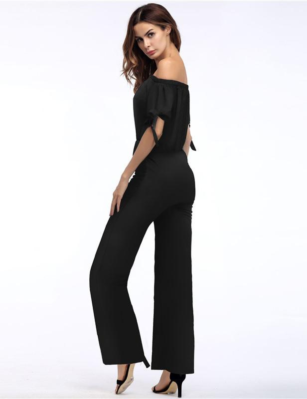 Off the Shoulder Tied Short Sleeve Wide Legs Jumpsuit