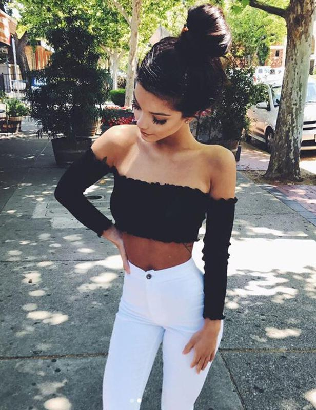 Autumn Sexy Strapless Umbilical Long-Sleeved Crop Top