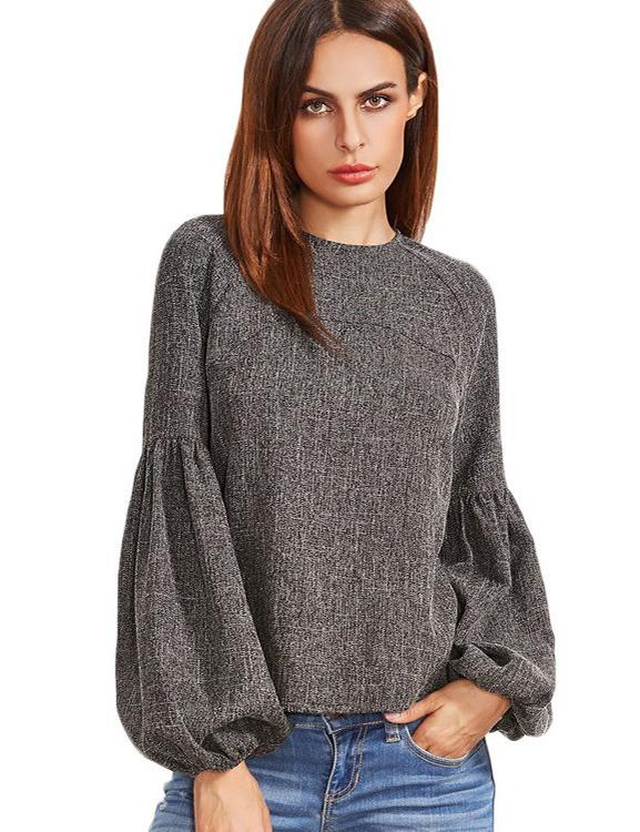 Fashion Crew Neck Lantern Long Sleeve Keyhole Back Top