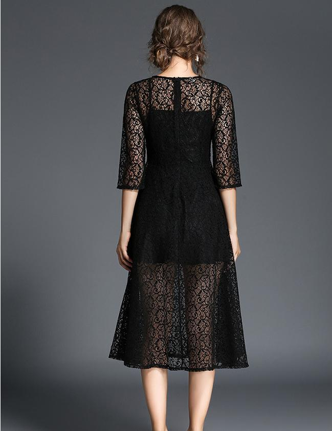 New A-line Elegant Large Swing Slim Lace Homecoming Midi Dress