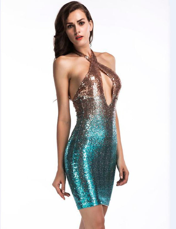 Sheath Sexy Halter Keyhole Sequined Homecoming Dress