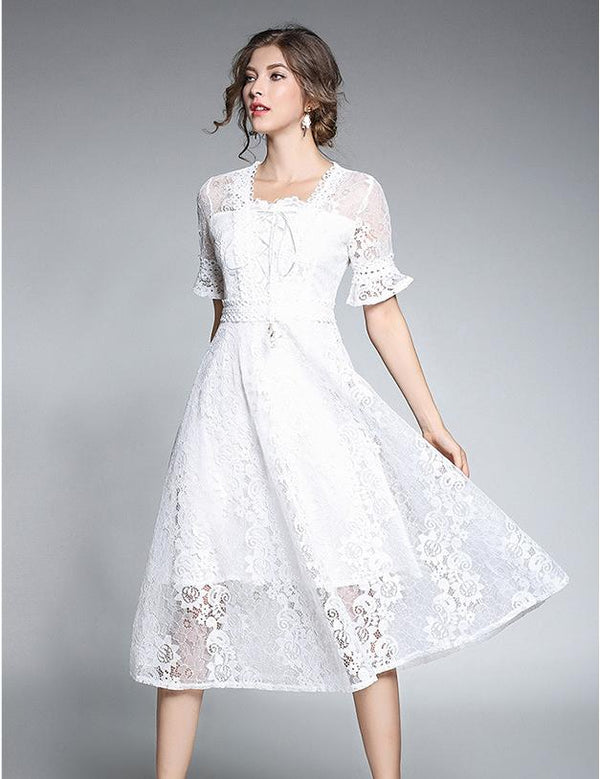 A-Line Lace-Up Neck Short Sleeve Slim Lace Midi Dress