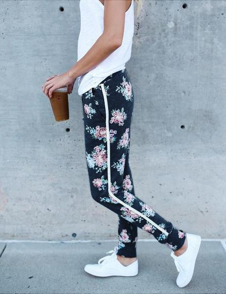 Printed casual straight leg pants - Fancyqube