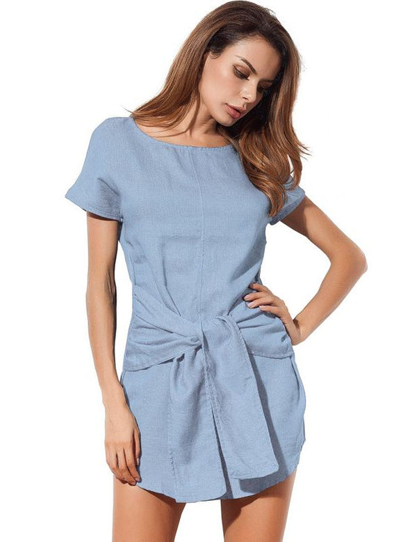A-Line Short Sleeve Bow Casual Denim Mini Dress - Fancyqube