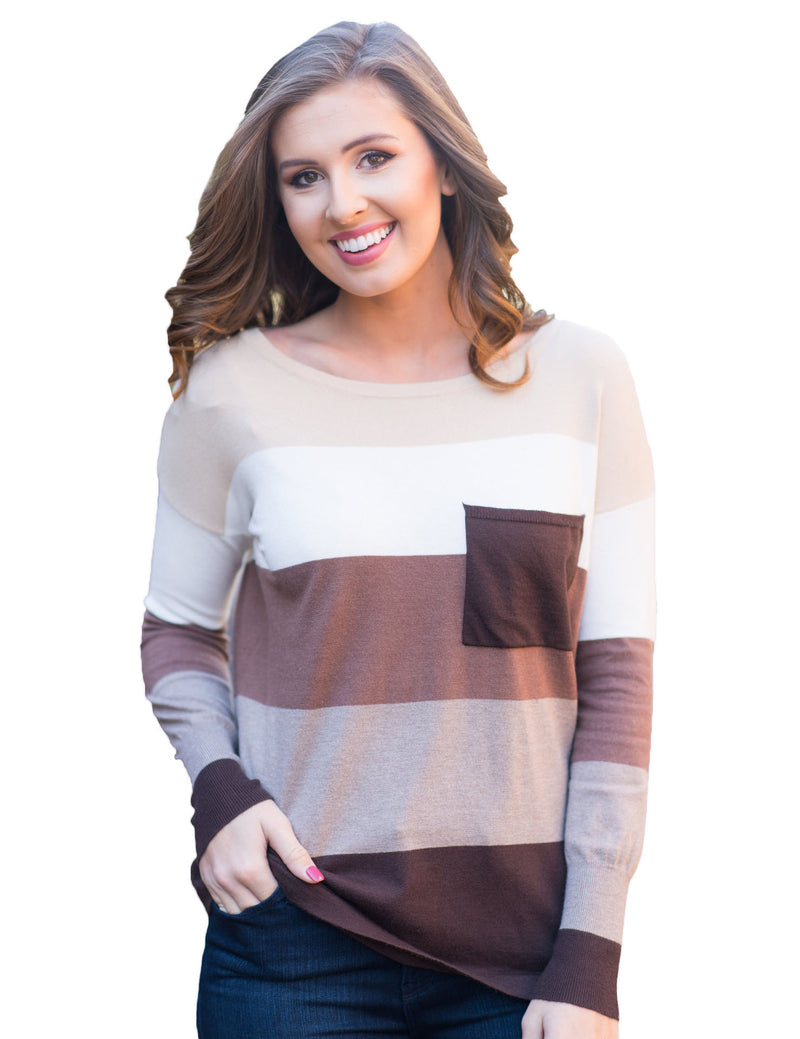 Round Neck Long Sleeve Color Stitching Casual Knited Sweater