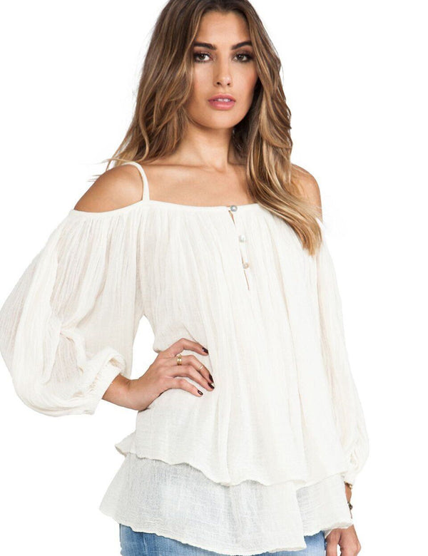 Cold Shoulder with Layered Details Long Sleeve Blouse