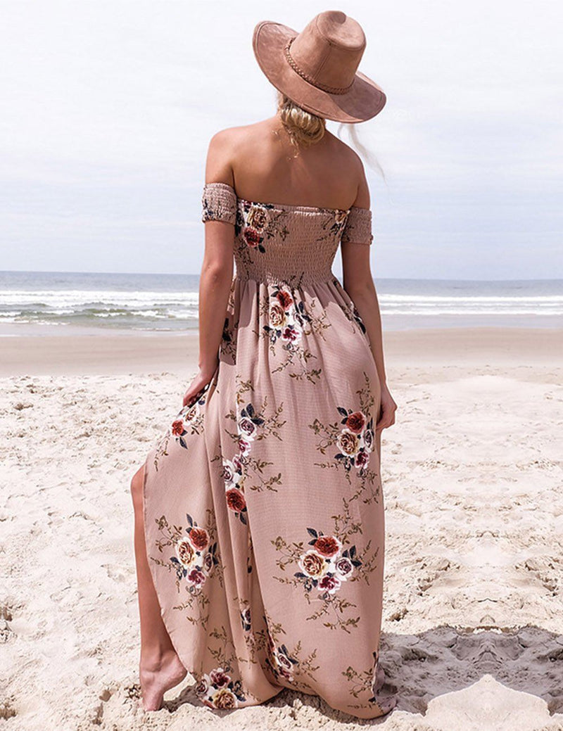High-Low Strapless Floral Print Split Sexy Beach Maxi Dress - Fancyqube
